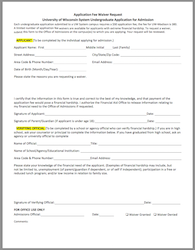 Application Fee Waiver Form