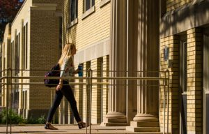 Student approaching a building