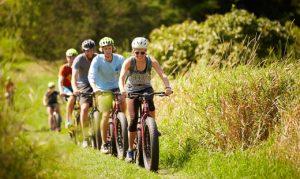 mountain biking students