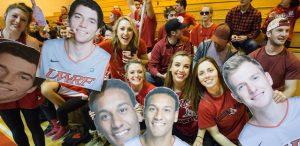students at a basketball game