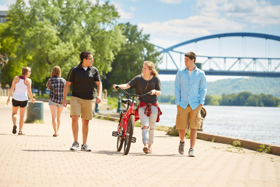 UWL students near the Mississippi River